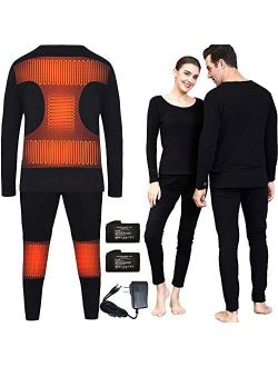Heated Thermal Underwear Top + Heated Pant for Women Men with 4000mAh Battery