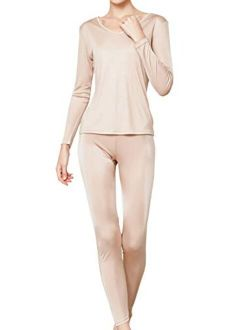 METWAY Women's Silk Long Johns  V-Neck Silk Thermal Underwear Sets Winter Silk Long Underwear