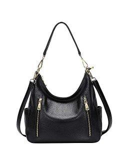 OVER EARTH Genuine Leather Purses and Handbags for Women Hobo Shoulder Bag Ladies Crossbody Bags Medium
