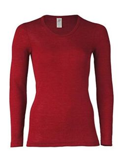 Women's Thermal Base Layer Top - Lightweight Moisture Wicking Organic Merino Wool Silk Undershirt (EU 38-40 | Small, Red Mallow)