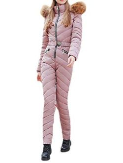 Z.Tianci Women's One Piece Rompers Athletic Ski Suit Winter Warm Hood Jumpsuits