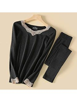 KOYN and Winter Sheep Wool Heating Thermal Underwear Women's lace V-Neck Slim Stretch Ladies Autumn Clothes Long Pants Suit (Color : Black, Size : One Size)