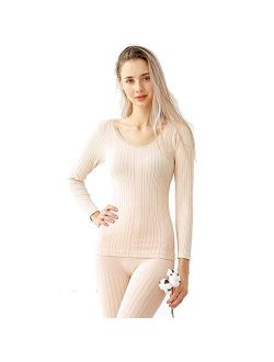 Zhihe Sexy Thermal Underwear Sets Women Long Johns Suit Winter Warm Underwear Suit Ladies Bodysuit Slim Intimate Sets Female Pajamas Fleece Lined Top and Bottom-Pink Aver