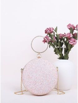 Rhinestone Handle Glitter Clutch Bag