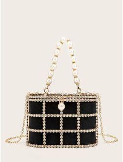 Rhinestone & Faux Pearl Decor Chain Clutch Bag