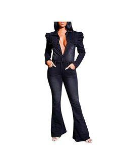 Yowein Women Jeans Jumpsuit Long Pant Slim Button Down Jumpsuit Long Sleeve Top One Piece Denim Jumpsuit Romper Overalls