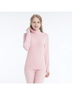 KALUN Autumn and Winter German Velvet self-Heating Thermal Underwear Ladies Suit high-Neck Seamless Autumn Clothes Long-Sleeved Velvet Cotton Sweater (Color : Skin, Size