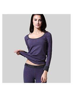 Jinqiuyuan Men Thermal Underwear Women Thermal Underwear Premium Fine Rib Cotton Warm Fleece-Lined Long Johns Comfortable Men Thermal (Color : Women deep Purple, Size : L