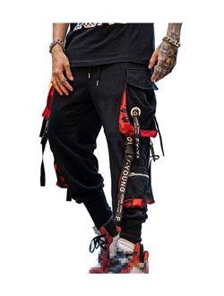 Hello MrLin Men's Jogger Pants Punk Cargo Baggy Techwear Hip Hop Harem Pants Streetwear Tactical Track Pants