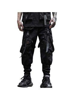 RLJT JIN Men's Elastic Waist Harem Pants Jogger Drawstring Motor Biker Punk Trousers Hip Hop Pockets Sweatpants for Casual