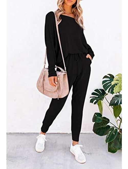 Meenew Women's Sweatsuit Long Sleeve Top and Pants Set 2 Piece Outfit Jogger Set