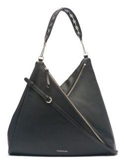 Faux Leather Front Zipper Geo Hobo