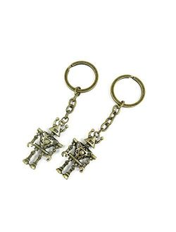 1 Pieces Antique Bronze Keychain Key Chain Tags Keyring Ring Jewelry Making Charms Supplies KC0054 Hollow Robot
