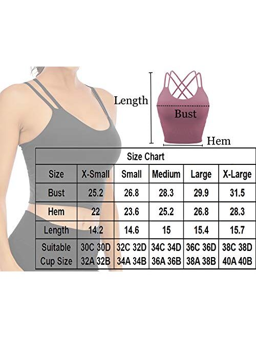 Lelinta Padded Sports Bra for Women Workout Fitness Running Crop Yoga Tank Tops with Built in Bra Camisole Longline Shirts