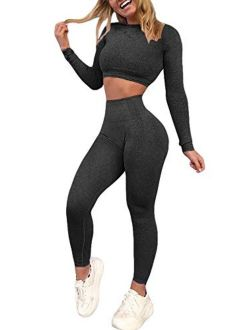 YOFIT Women's Workout Outfit 2 Pieces Seamless High Waist Yoga Leggings with Long Sleeve Crop Top Gym Clothes Set