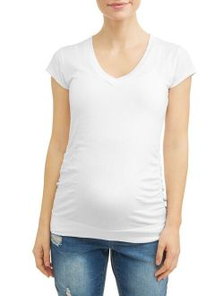 Oh! Mamma Maternity Basic V-Neck Tee With Flattering Side Ruching-Available in Plus Sizes