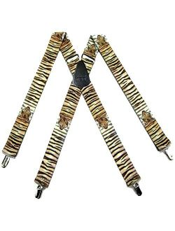 Mens Wild Animals Theme Clip Suspender Made in the USA