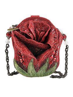 MARY FRANCES Rose Bud Red Rose Beaded Shoulder Handbag