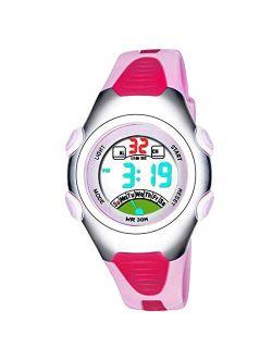PASNEW Sweet Children Girls Kids Watches Digital Waterproof Luminous Watches