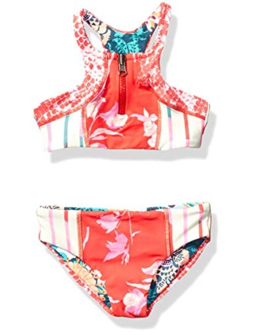 Maaji Girls' High Neck with Zip Front Bikini Swimsuit Set