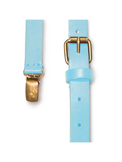 JJ SUSPENDERS Genuine Leather Suspenders For Kids with Elastic Strap - Classic Y Suspenders for Boys & Toddlers