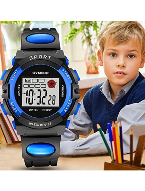 Children's Outdoor Sports Watch Stylish Simplicity Pu Plastic Waterproof Multi-Function Display Girl Boy, Orange