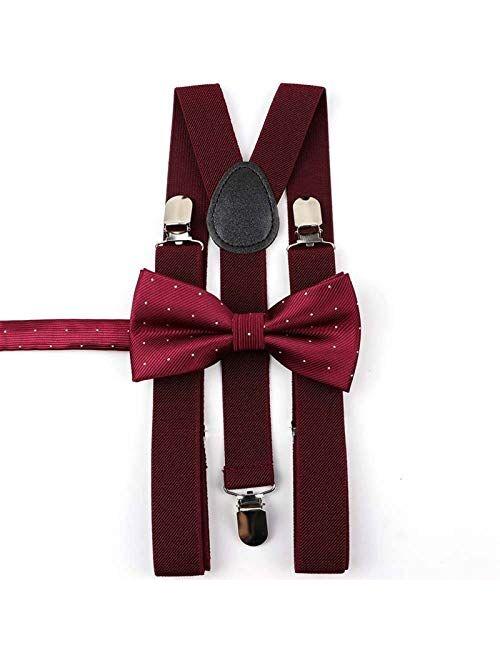 Sling Mens Women Kids Soild Classic Suspenders Satin Bow Tie Brace Sets Boys Girls Shirt Y-Back Butterfly Dad Son Bowtie Brown Casual