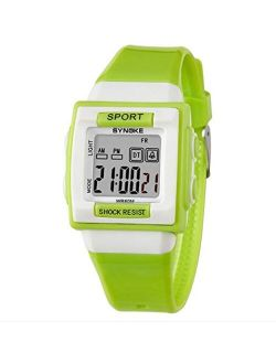 Children's Multifunctional Watch Fashion Personality Candy Colors Outdoor Sports Pu Plastic Waterproof Girl Boy, White