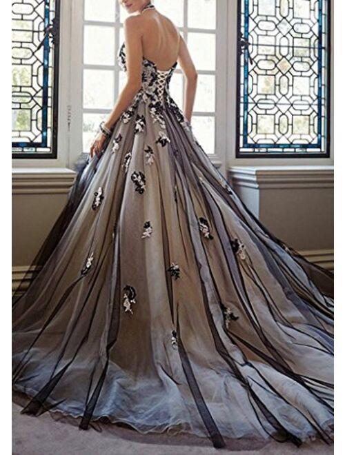 Kelaixiang Women's Black Sheath Bodice Wedding Gown Lace Bridal Dresses