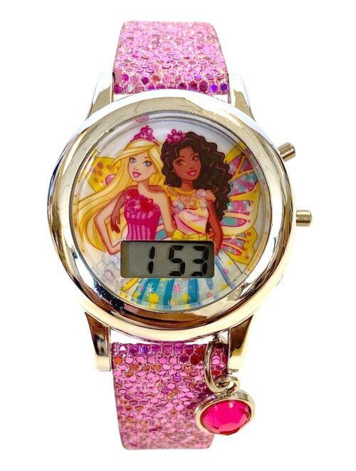 Accutime Kid's Barbie Digital Pink Glitter Silicone Strap Watch 34mm