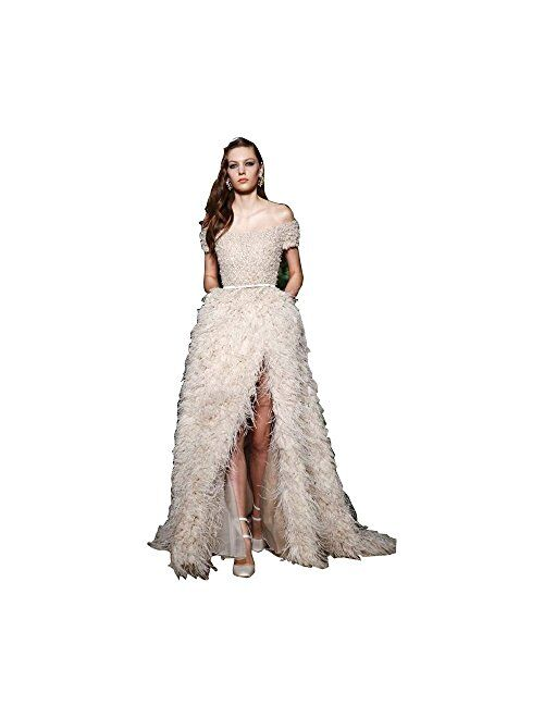 Fenghuavip Split Off-Shoulder Champagne Bridal Ostrich Feather Wedding Dress