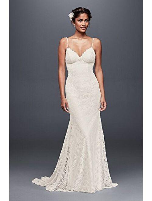 David's Bridal Low Back Soft Lace Wedding Dress Style WG3827