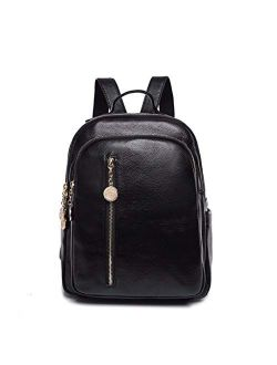 Women Leather Backpacks School Bags For Girls Preppy Vintage Bagpack Casual Daypack Dark blue L32cm W26cm Thk14cm