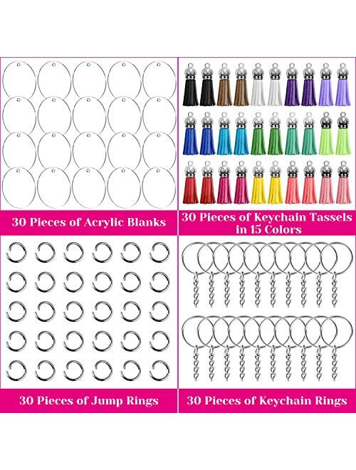 Acrylic Keychain Blanks, Audab 120pcs Clear Keychains for Vinyl Kit Including 30pcs Acrylic Blanks, 30pcs Keychain Tassels, 30pcs Key Chain Rings and 36pcs Jump Rings for