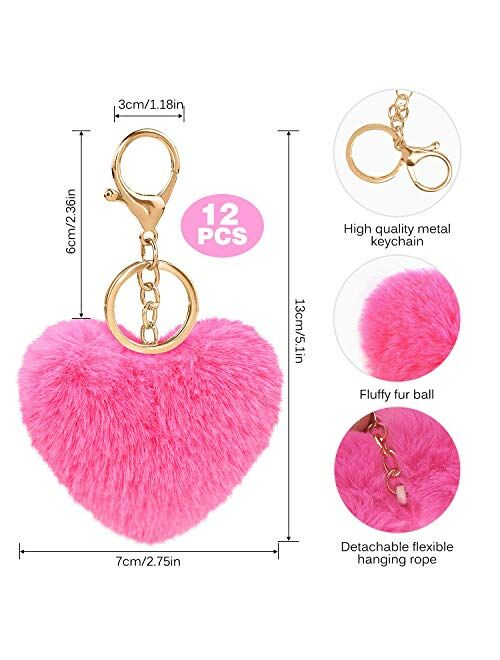 Colored Pom Pom Keychain Bulk Heart Fluffy Fur Puff Ball Key for Women