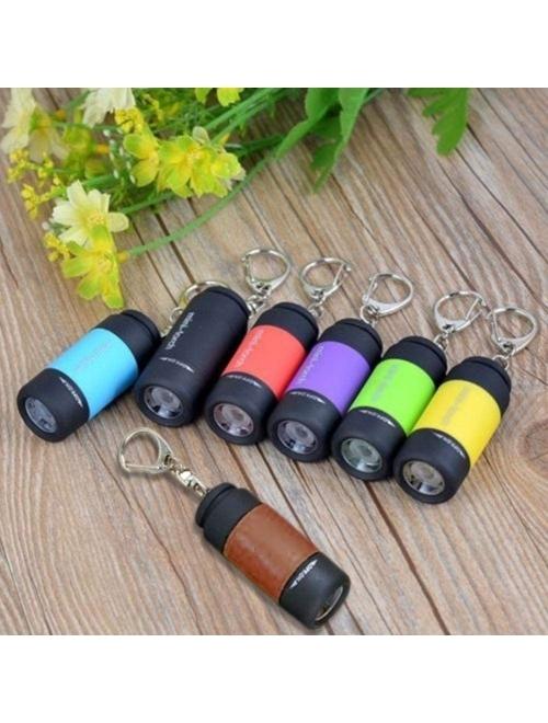 Mini Keychain Flashlight, 50 Lumen USB Rechargeable Small Pocket LED Torch Flashlight (7 pack)