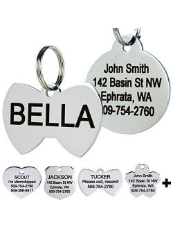 GoTags Stainless Steel Pet ID Tags, Personalized Dog Tags and Cat Tags, up to 8 Lines of Custom Text, Engraved on Both Sides, in Bone, Round, Heart, Bow Tie, Flower, Star