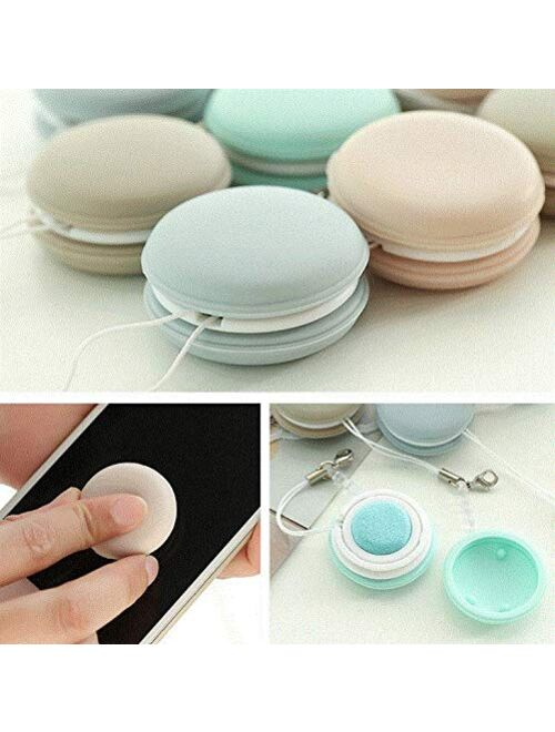4pcs Macaron Screen Cleaner Cleaning Keychain Wipes with Dustproof plug, Washable and Reusable Soft Brush Cleaning Tool Best for Eyeglasses Sunglasses Lens Camera Mobile