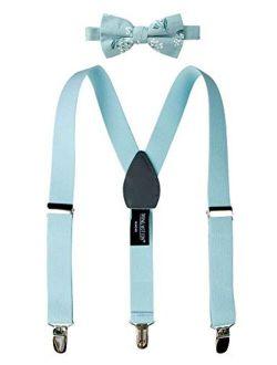 Boys' Suspenders And Dark Floral Bow Tie Set