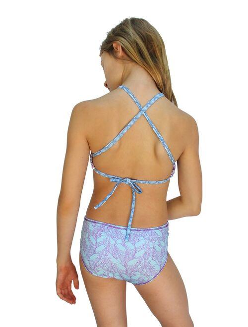 Azul Girls Purple Reign Floral Print High Top 2 Pc Bikini Swimsuit