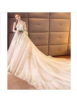 Wedding Dress Bride Trailing Luxury Starry Sky Main Wedding Dress Female Long Sleeve Tailing Style Dresses