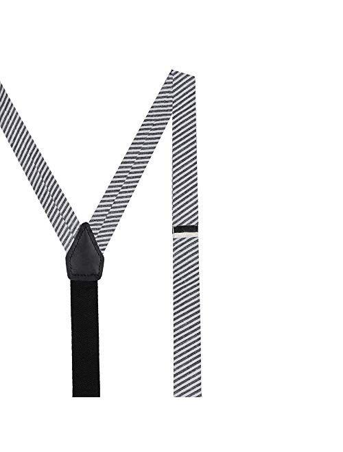 Jacob Alexander Boys' Seersucker Striped Pattern Suspenders
