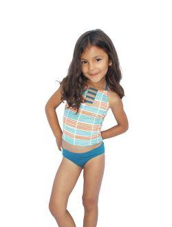 Little Girls Orange Stripe Running Lines Halter 2 Pc Tankini Swimsuit