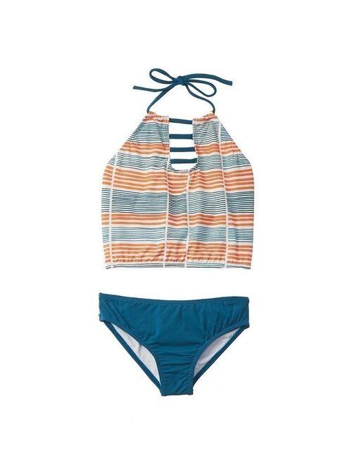 Azul Little Girls Orange Stripe Running Lines Halter 2 Pc Tankini Swimsuit