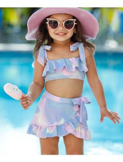 Purple & Pink Mermaid Scales Print Skirted Bikini - Toddler & Girls