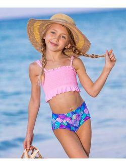 Pink & Lavender Mermaid-Scale Smocked Bandeau Bikini - Girls
