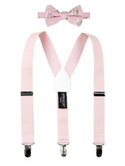 Boys' Suspenders And Pink Floral Bow Tie Set