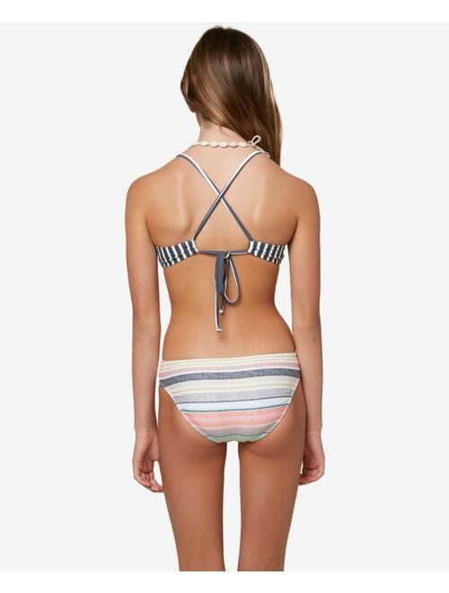O'Neill Big Girls Lilia Stripe Knot Bikini Top and Bottom Set, 2 Pieces