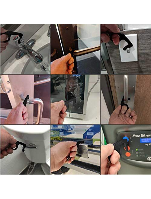 CovidClaw Tool – The Hand Hygiene Anodized Aluminum Touchless Keychain Tool – Great for Door Opening and Closing, Button Pushing, Sinks, Elevators, Gas Stations, Toilets,