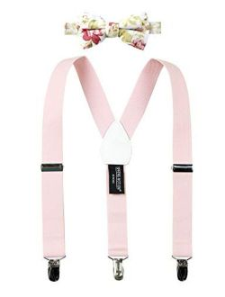 Boys' Suspenders And Light Floral Bow Tie Set